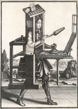 Man inside a printing machine image